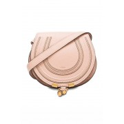 Chloe Small Marcie Grained Calfskin Saddle Bag in Neutrals.