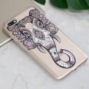 Tattoo Elefante En Relieve Patrón TPU Caso Para Huawei Disfrutar Aceite 7 / Y6 Pro (2017)