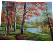 Rojo hojas de madera patron decorativo de lino paisaje pintura al oleo