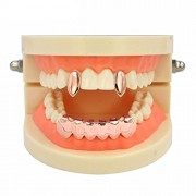 ELECTROPRIME 18k Gold Plated Grills Mouth Teeth Caps Grill Fangs Vampire Party Prom