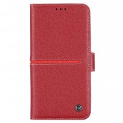 GEBEI Yaqi Series Genuine Leather Flip Wallet Phone Cover for iPhone 11 Pro Max 6.5 inch (2019) - Red