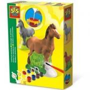 Детски креативен комплект за отливки и оцветяване, Коне, SES, 0801211