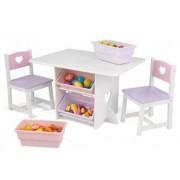 Szivecskés asztal játéktárolóval és 2 szék szett, Kidkraft