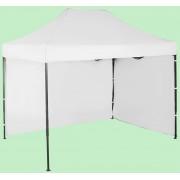Gyorsan összecsukható sátor 2x3m – acél, Fehér, 2 oldalfal