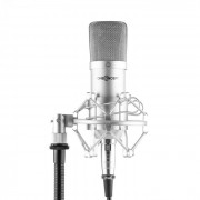 Mic-700 Microfone para Estúdio Ø34mm Suspensão Uni Tela de proteção XLR prata