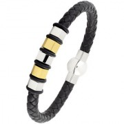 The Jewelbox 3D High Quality Braided 100 Genuine Leather 316L Stainless Steel Wrist Band Bracelet Men