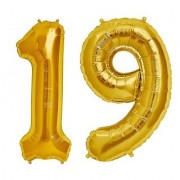 Stylewell Solid Golden Color 2 Digit Number (19) 3d Foil Balloon for Birthday Celebration Anniversary Parties