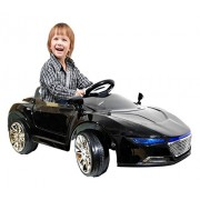 Kids Battery Operated Ride On Car with Music,Lights and Remote Control (Blue) (Black)