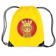 Bellatio Decorations Giraf dieren trekkoord rugzak / gymtas geel voor kinderen