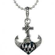 MissMister Silver Plated Oxidised Look Anchor Design Locket Chain Pendant Necklace Jewellery for Men Women Boys Girls