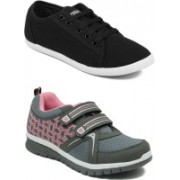 Asian BUTTERFLY-02 & SPICY-51 Running Shoes For Women(Grey, Black)
