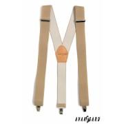 Béžové šle Y s koženým středem zapínání na klip Avantgard 856-1512