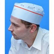 GM Equipement Calots à soufflet en papier blanc réglable avec liseré rouge 0.000000