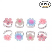Baradu Kids Adjustable Flower Ring Multi Color Cute Rings For Girls Handmade Jewelry Set of 8, 4 Different Kinds of Style