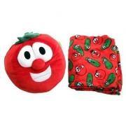 Veggie Tales Bob the Tomato Zoobies Plush Toy Soft Pillow and Cozy Blanket