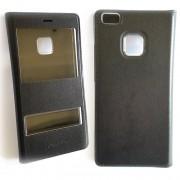 Черен кожен калъф - тефтерче с прозорчета за Huawei Nova