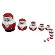 Phenovo 10PCS Handmade Santa Claus Wooden Stacking Nesting Dolls Set Russian Matryoshka Babushka Novelty Gag Toys Kids Christmas Gift Home Office Decor