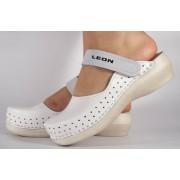 Saboti/Papuci albi din piele naturala dama/dame/femei (cod PU-195)