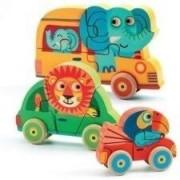 DJECO Drewniane Puzzle pionowe Samochody i zwierzątka - Pachy&Co, układanka dla dziecka 18 mies DJ01251