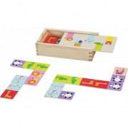 Din lemn joc de puzzle cu animale Domino Lumea Clasic
