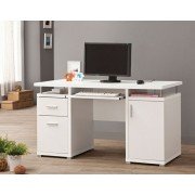 White finish wood office computer desk with file cabinet , drawer and open cabinet