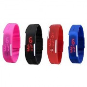 fast selling led watch(combo of black+blue+red+pink)