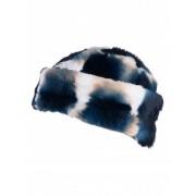 Шапка от естествена кожа - синьо и бяло