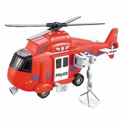 Morgan Sellers 116 Big Size Toy Helicopter Chopper for Kids with Lights and Sounds Friction Powered (RED)