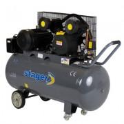 Compresor aer 200 litri, Stager HM-V-0.6/200, 8 bari, kit 4 accesorii aer comprimat ce cuprinde pistol vopsit, pistol suflat, pistol manometru, furtun spiralat