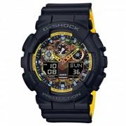 reloj deportivo gradiente de moda casio g-choque GA-100BY-1A-negro + amarillo