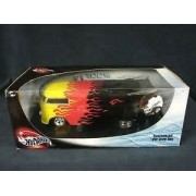 #54573 Hot Wheels Customized VW Drag Bus,Black with Flames 1/18 Scale Diecast