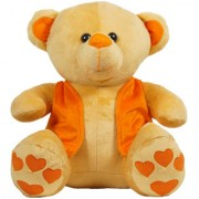 Ultra Brown Teddy Bear with Orange Jacket - 12 Inches