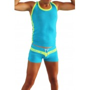 Icker Sea Matching Tank Top & Boxer Brief Set Blue & Yellow COR-16-03
