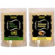 Donnara Organics 100% Natural Tulsi Powder and Shikakai powder Combo pack of 2 of 150 gms(300 gms)