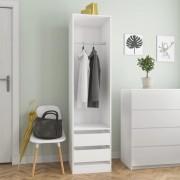 vidaXL Гардероб с чекмеджета, бял, 50x50x200 см, ПДЧ