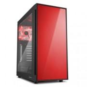 Кутия Sharkoon AM5 Window Red, ATX/Micro ATX/miniITX, 2x USB 3.0, прозрачен капак, черна, без захранване