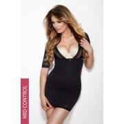 Glossy, alakformáló fekete női ruha
