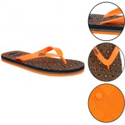 Daily Walk Black And Orange Men's Flip-Flops And Regular Walking House Slippers