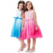 Lejdi Cieniowana różowo biała sukienka w róże dla dziewczynki dziecięce sukieneczki