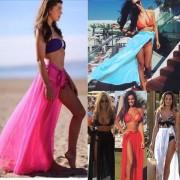 Plážová sukně na zavazování (modrá barva) - V&V