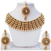 Lucky Jewellery Elegant Golden Green Color Gold Plated Pearl And Stone Necklace Set For Girls Women