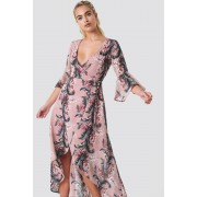 Glamorous Wrap Maxi Print Dress - Kaftan - Pink,Multicolor