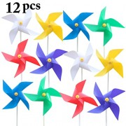 12PCS Kid's Pinwheel Solid Color Plastic Pinwheel Decor Wind Spinner for Party Outdoor Garden Decor