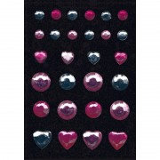 Geen Decoratie glitter stickers in rose en zilver