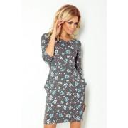 numoco Šedé šaty s kapsami a vzorem s poměnkami model 4976596 S