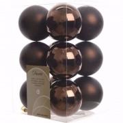 Decoris Kerst kerstballen bruin 6 cm Cosy Christmas 12 stuks