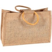 PRAHAN INTERNATIONAL Carry Bag Designer Natural Juit Hand Carry Bag with two wooden Handle Strap PS20013A(Natural Jute)