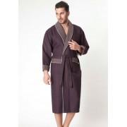 Evateks Однотонный мужской халат из вафельного материала коричневого цвета Evateks №10022 Коричневый