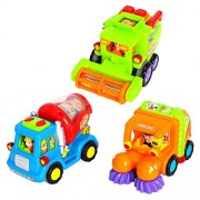 EastSun 6 Pcs Early Education 1 Year Olds Baby Toy Push and Go Friction Powered Car Toys, Street Sweeper Truck, Cement Mixer Harvester Truck for Children & Kids Boys Girls