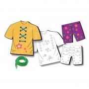 Carduri pentru snuruit Hainutele vesele Learning Kitds, 4 sabloane, 4 snururi